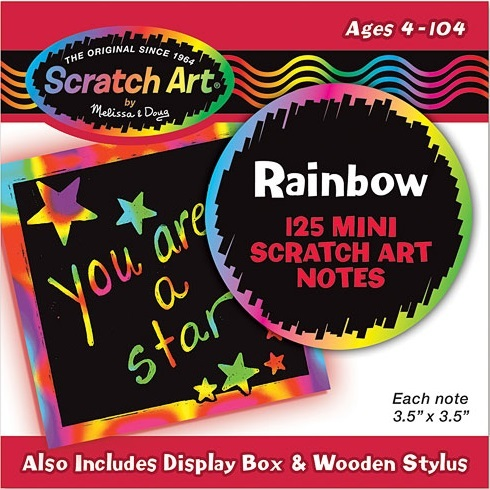 Melissa & Doug: Scratch Art Rainbow Mini Notes - 125 Cards