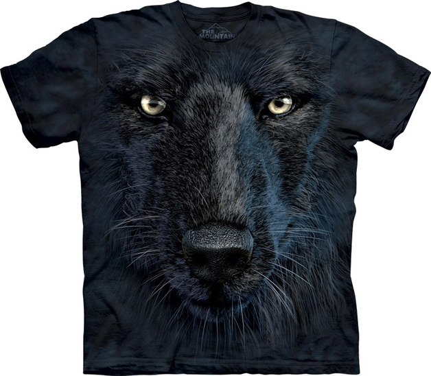 Black Wolf Face Adult T-Shirt (Small)