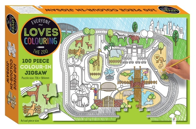 Everyone Loves Colouring: 100-Piece Jigsaw - The Zoo