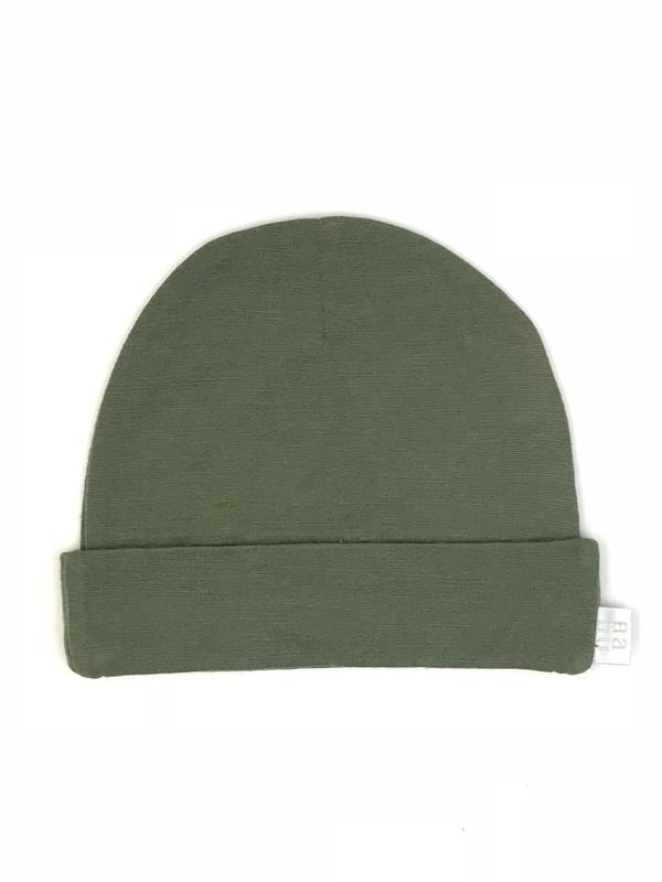Babu: Merino Wool Hat - Khaki (New Born)