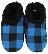 Slumbies Blue/Black Men's Plaid Slippers (L)