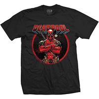Marvel Comics Deadpool Crossed Arms Mens Blk TS (Small) image