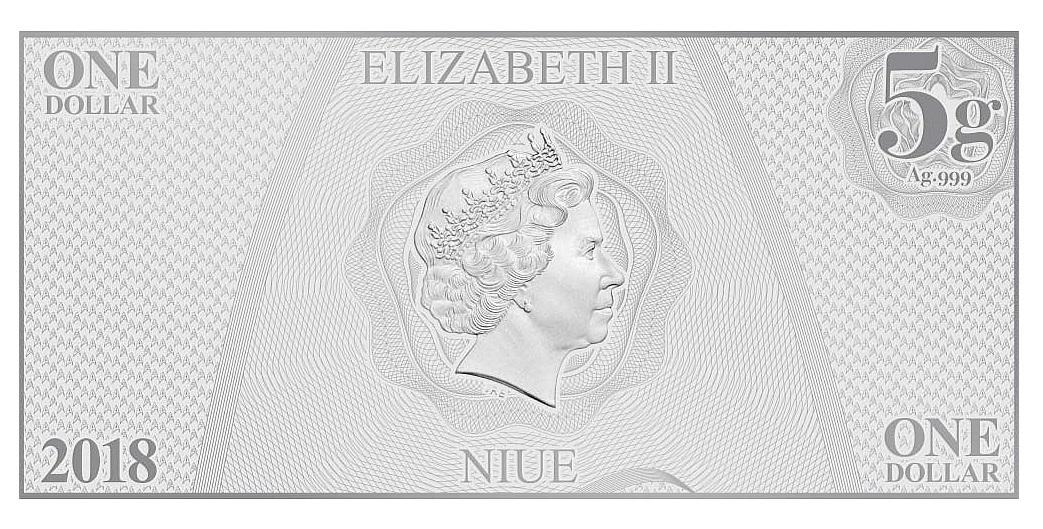 NZ Mint: Star Trek - Silver Coin Note - Lt. Sulu 2018 (5g Silver) image