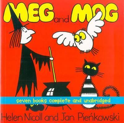 "Meg and Mog: Seven Books Complete and Unabridged: ""Meg and Mog"", ""Meg and Mog on the Moon"", ""Meg at Sea"", ""Meg's Car"", ""Meg's Castle"", ""Meg's Eggs"", ""Meg's Veg"" by Nicoll Pienkowski image"