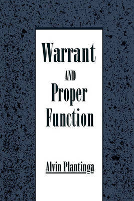 Warrant and Proper Function by Alvin Plantinga image