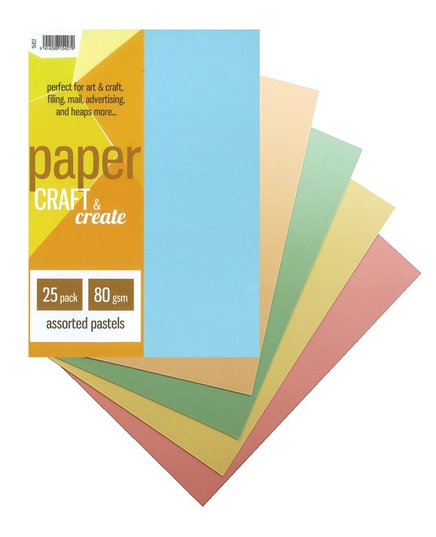 Craft & Create A4 80gsm Paper - Assorted Pastels (25 Pack)