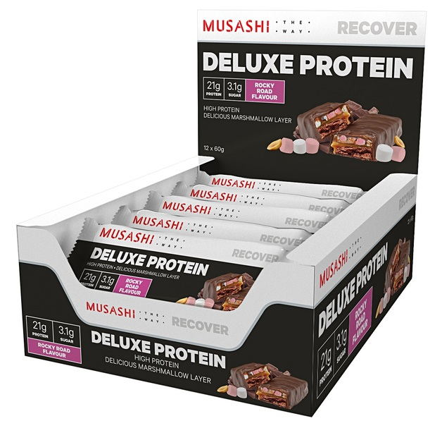 Musashi Deluxe High Protein Bar - Rocky Road (12x60g)