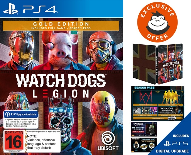 Watch Dogs Legion Gold Steelbook Edition Ps4 In Stock Buy Now At Mighty Ape Nz