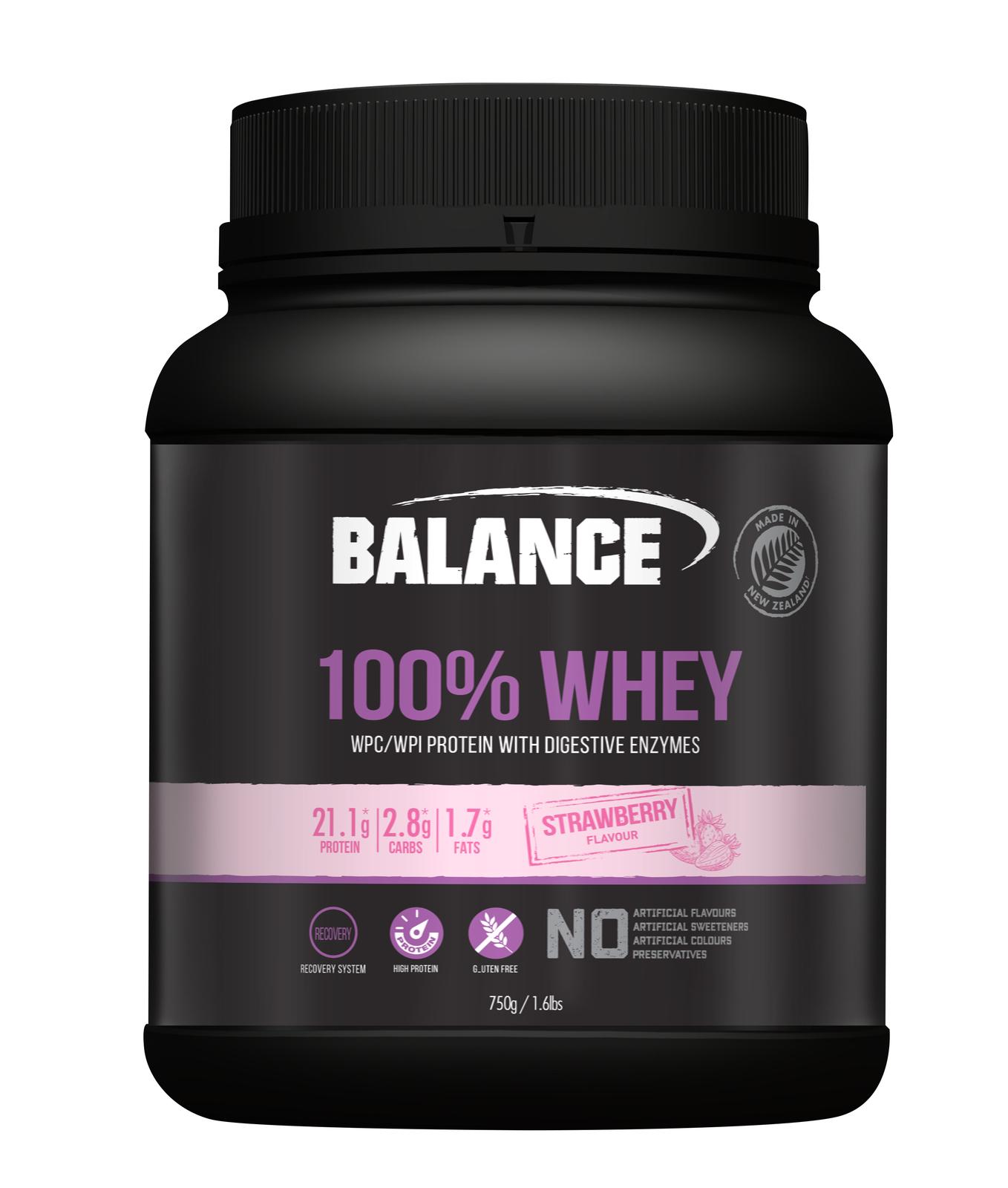Balance 100% Whey Protein Powder - Strawberry (750g) image