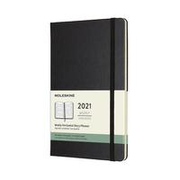 Moleskine: 2021 Diary Large Hard Cover 12 Month Horizontal Weekly - Black