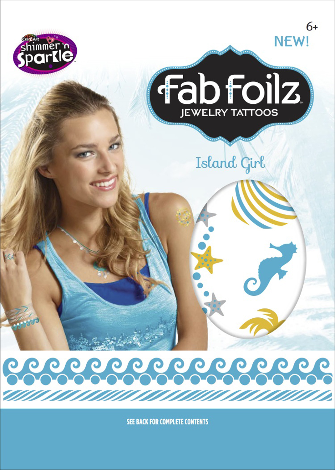 "Fab Foilz: Metallic Tattoos 4 X 8"" Envelope - Island Girl image"