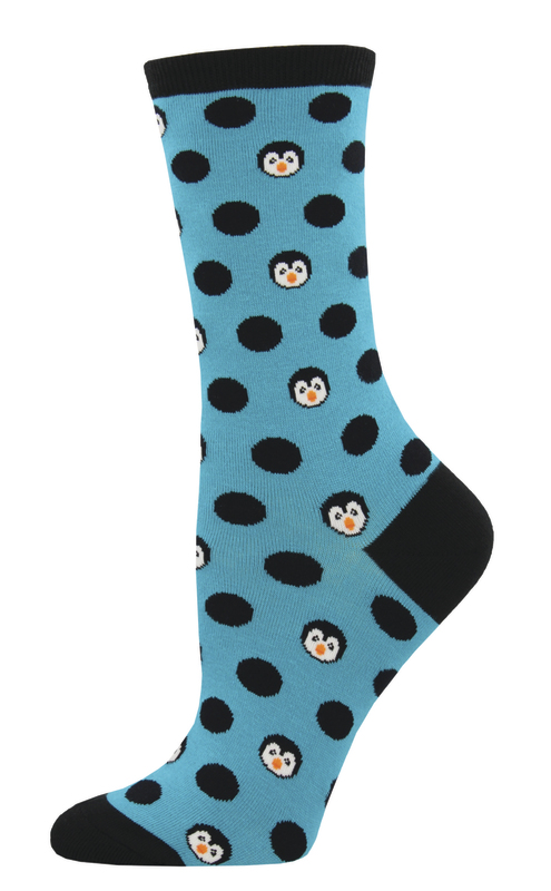 Socksmith: Women's Penguinka-Dot Crew Socks - Turquoise