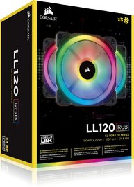 Corsair Ll Series LL120 RGB 120mm Dual Light Loop RGB LED PWM Fan — 3 Fan Pack with Lighting Node PRO image