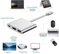 USB C Aluminum Converter Adapter Type C to HDMI/USB 3.0/Type-C - Silver