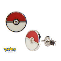 Pokemon Sterling Silver Poke Ball Earrings