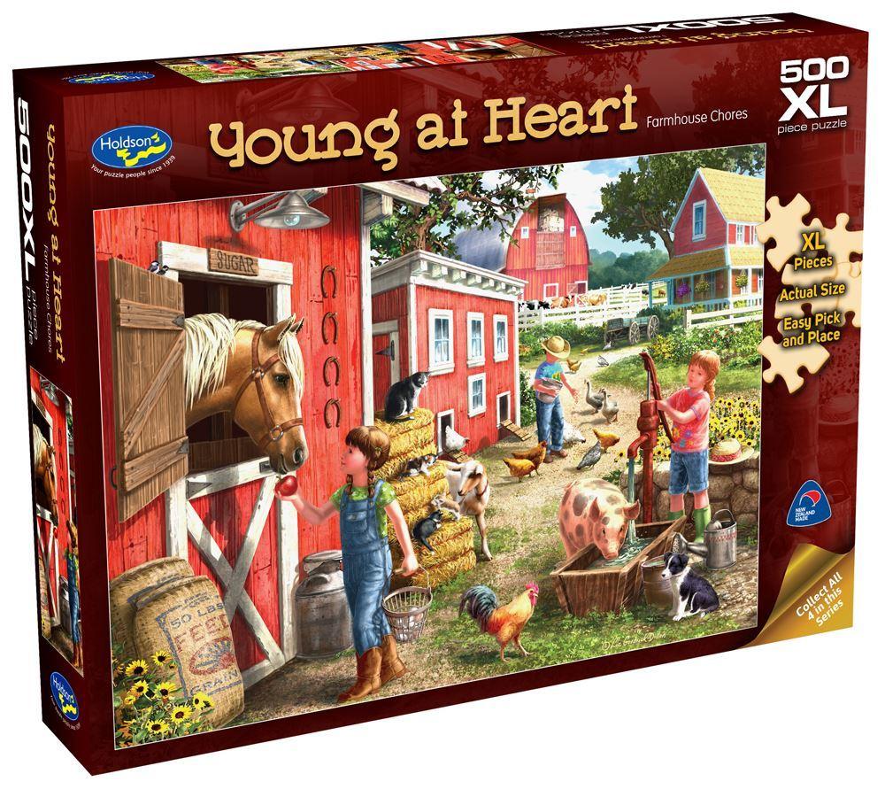 Holdson: Young at Heart - Farmhouse Chores - 500 Piece XL Puzzle image