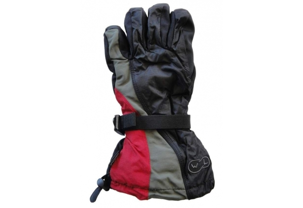 Mountain Wear: Black/Red Waveline Youth Snowboard Mittens (Small) image