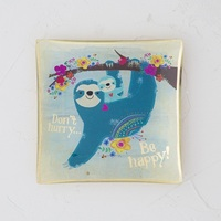 Natural Life: Square Glass Tray - Sloth Don't Hurry