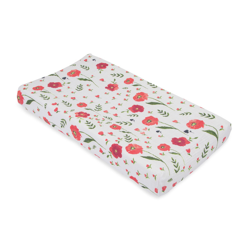 Little Unicorn - Muslin Changing Pad Cover - Summer Poppy image