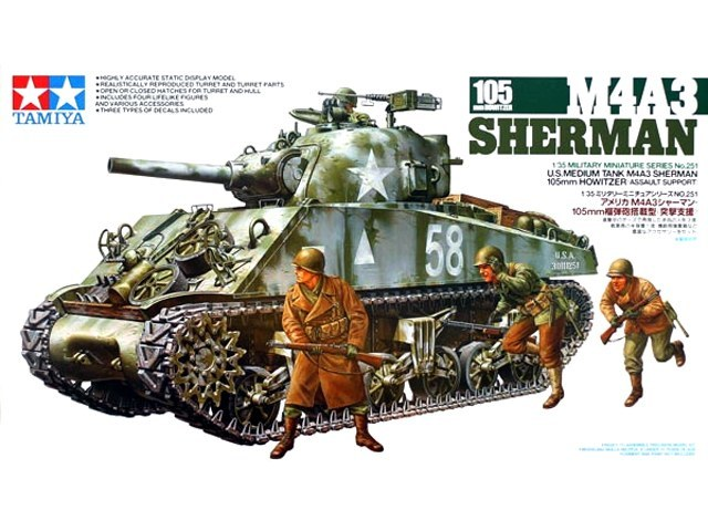 Tamiya 1/35 M4A3 Sherman 105mm Howitzer Assault Support - Model Kit image