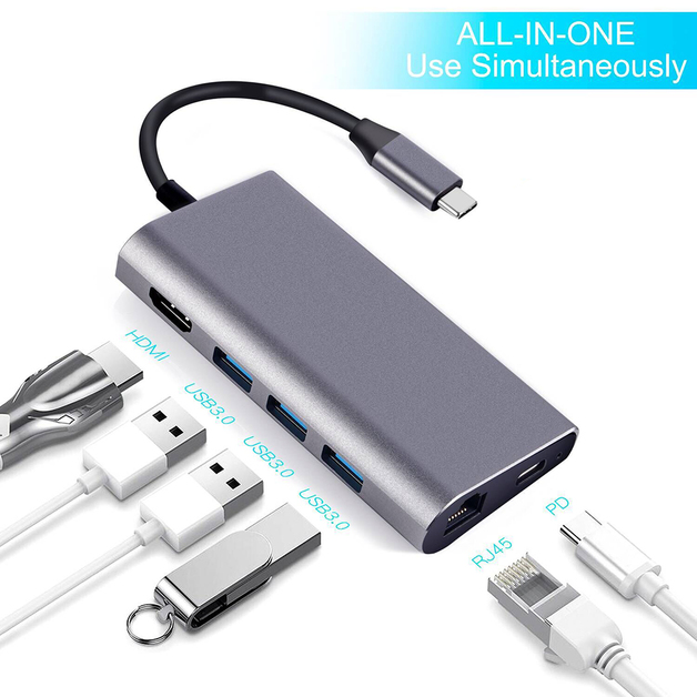 USB C Hub 8 in 1 USB-C Hub Adapter