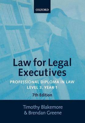 Law for Legal Executives: Level 3 by Timothy Blakemore image