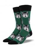 Men's Wolf Crew Socks - Hunter Green