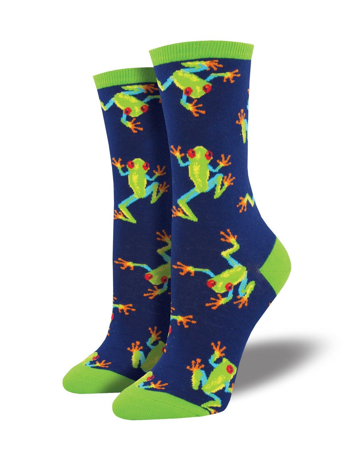 Socksmith: Womens Tree Frogs Crew Socks - Navy image