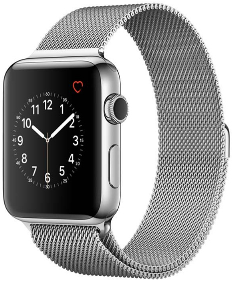 Apple Watch Series 2, 42mm Stainless Steel Case with Silver Milanese Loop image