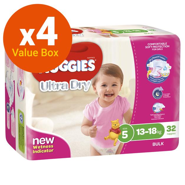 Huggies Ultra Dry Nappies Bulk Value Box - Size 5 Walker Girl (128)