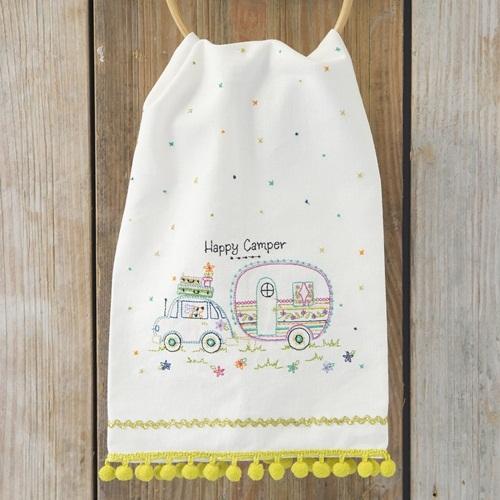 Natural Life: Linen Tea Towel - Happy Camper