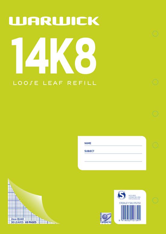 Warwick 14K8 30lf 2mm Quad Loose Leaf Refill