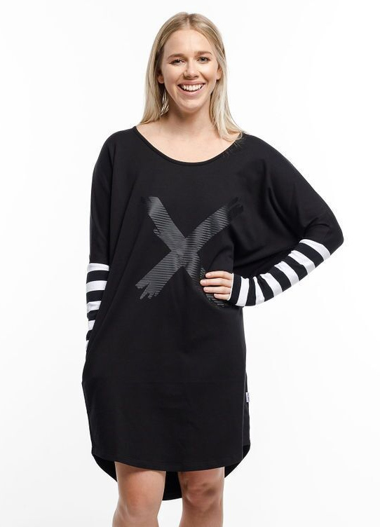 Home-Lee: Batwing Dress - Black With Stripes And X Print - 14