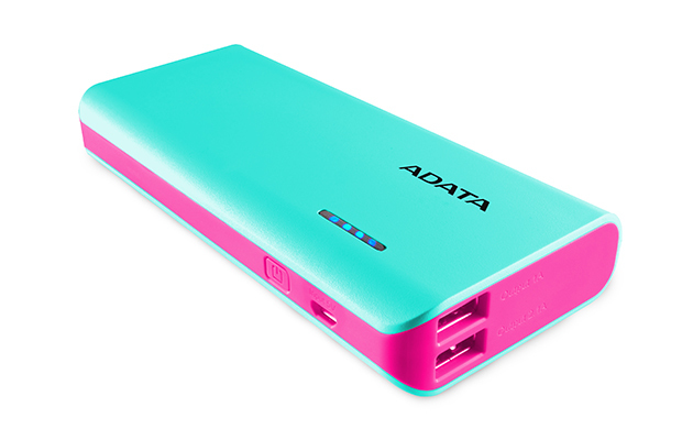 ADATA: PT100 10,000mAh Powerbank with Flashlight - Aqua/Pink