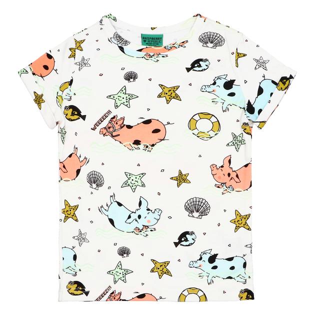 Raspberry Republic: Short Sleeve T-Shirt Piggy Paradise (Size 7)