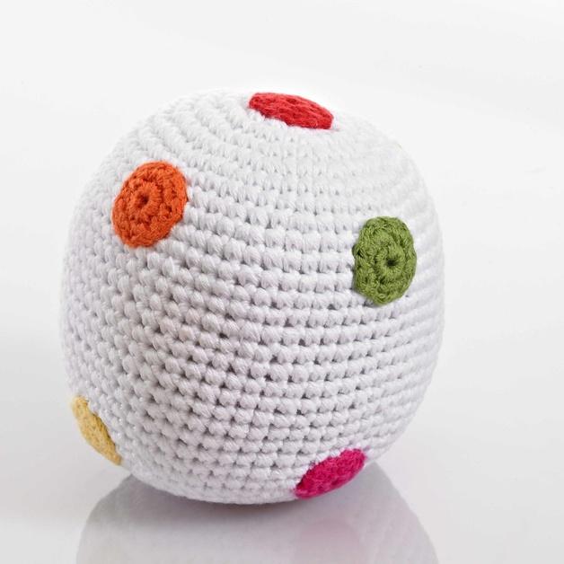 Pebble: Crochet Ball Rattle - White Spotty
