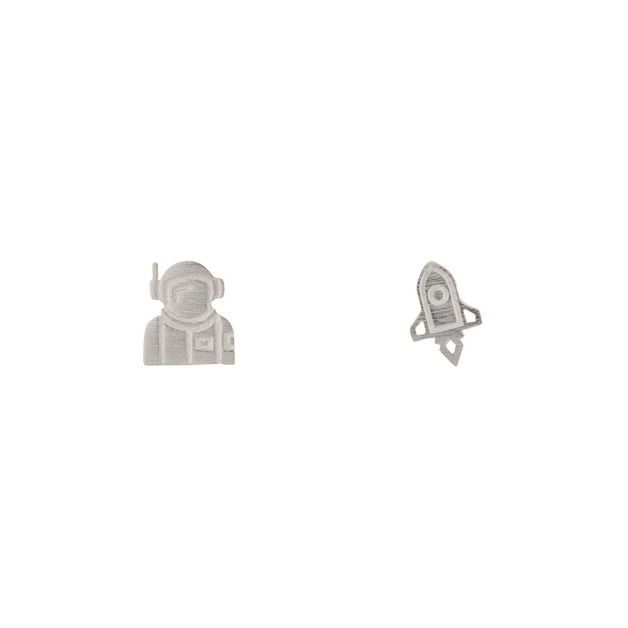 Short Story: Spaceship & Planet Earrings - Silver