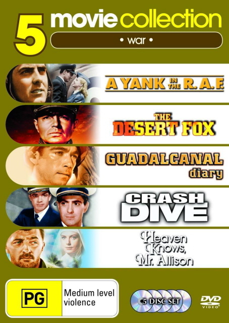 Yank In The RAF/Desert Fox/Guadalcanal Diary/Crash Dive/Heaven Knows Mr Allison (5 Disc Set) on DVD
