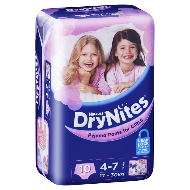 Huggies DryNites Pyjama Pants - 4-7 Year Girl 17-30 kg (10)