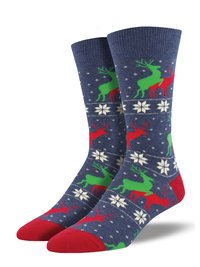 Mens - Naughty Reindeer Games Christmas Crew Socks