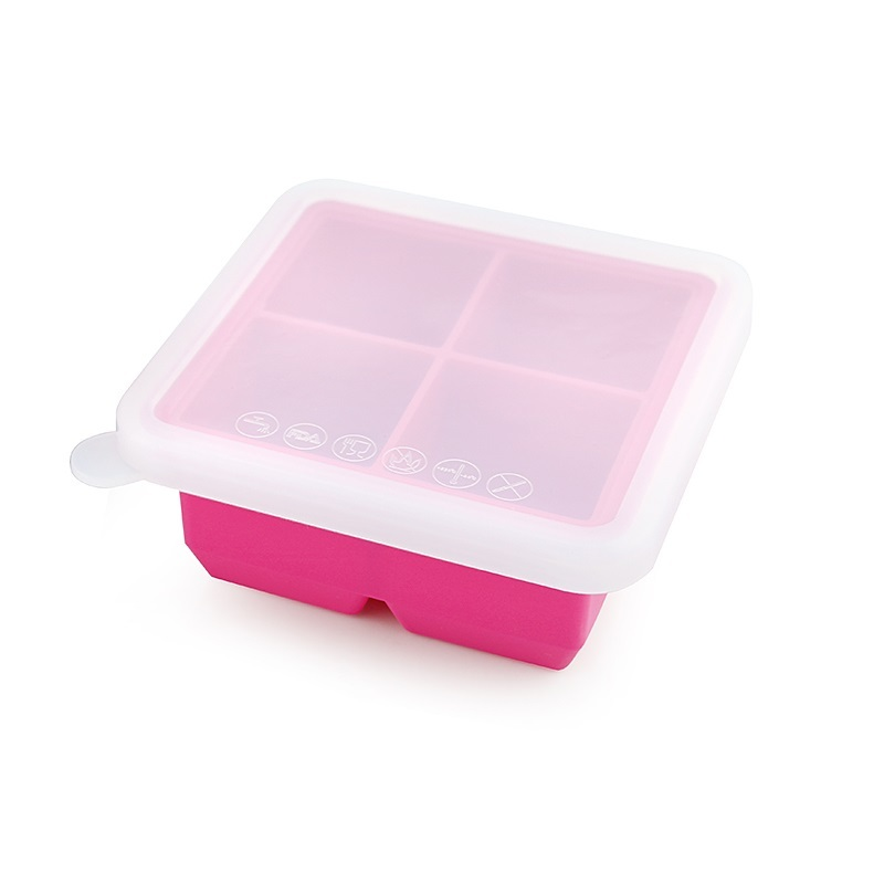 Haakaa: Silicone Baby Food Freezer Tray 4 with Lid - Rose image