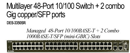 D-Link Multilayer 48-Port 10/100 Switch +2combo Gig copper/SFP ports