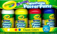 Crayola: Paint-a-Pack (White/Yellow/Red/Blue) & Brush