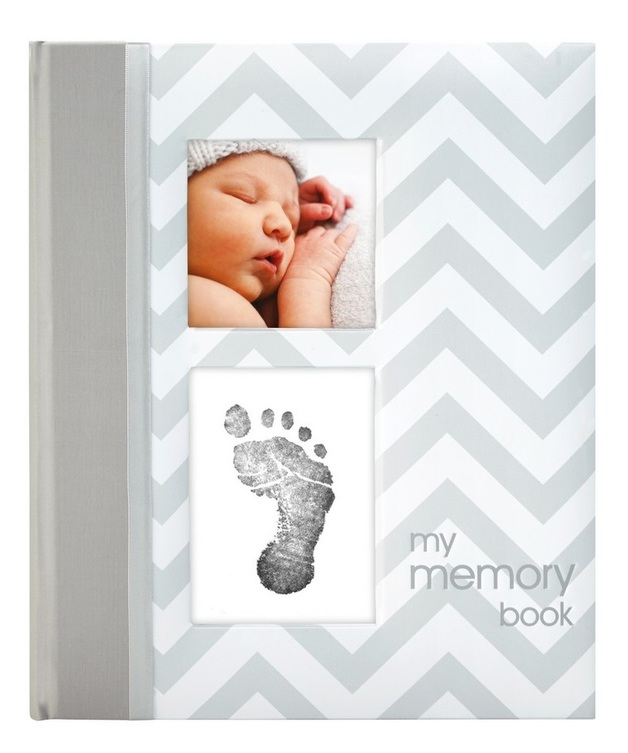 Pearhead: Chevron Baby Book - Grey