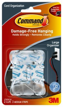 Command Clear Large Cord Organiser with Strips (2 Pack)