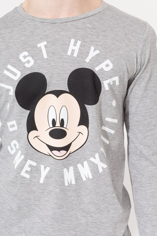 Just Hype: Mickey Circle Long-Sleeve Kids T-Shirt - Grey - 9-10y