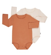 Bonds: Organic Long Sleeve Bodysuit 2-Pack - Charmotte/Macadamia (Size 0)