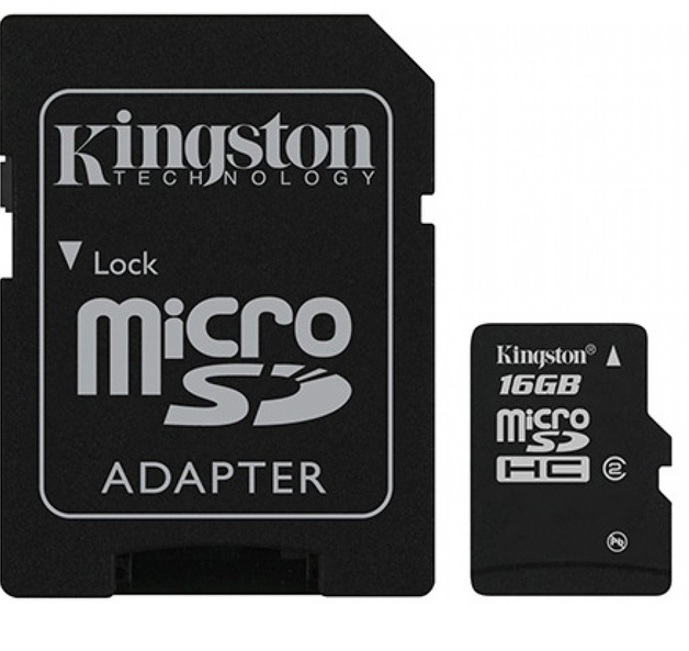 16GB Kingston - MicroSDHC Card with SD Adapter (Class 4)