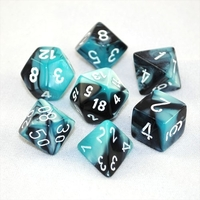 Chessex Gemini Polyhedral Dice Set Black-Shell/White