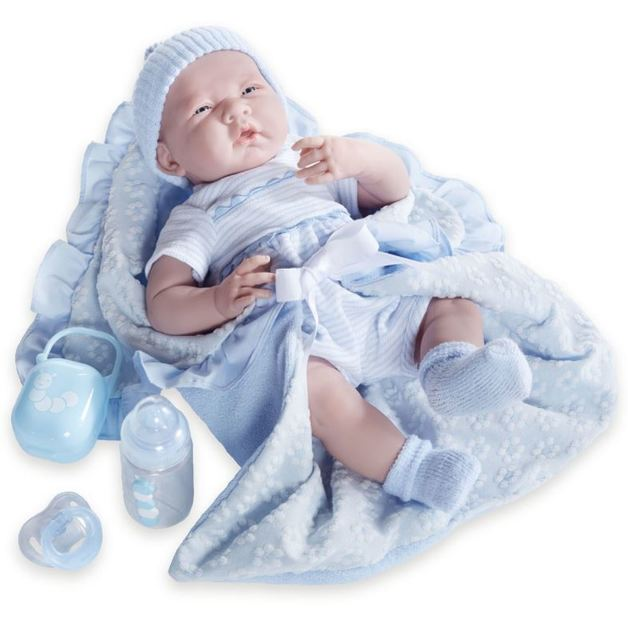 La Newborn - Soft Body Baby Doll with Blue Bunting